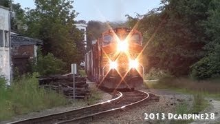 (HD) BNSF Power Leads Pan Am train WAPO through Auburn, Maine