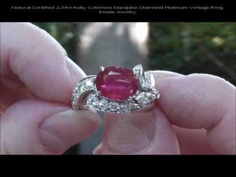 Natural Certified 2 24ct Ruby Colorless Marquise Diamond Platinum Vintage Ring Estate Jewelry