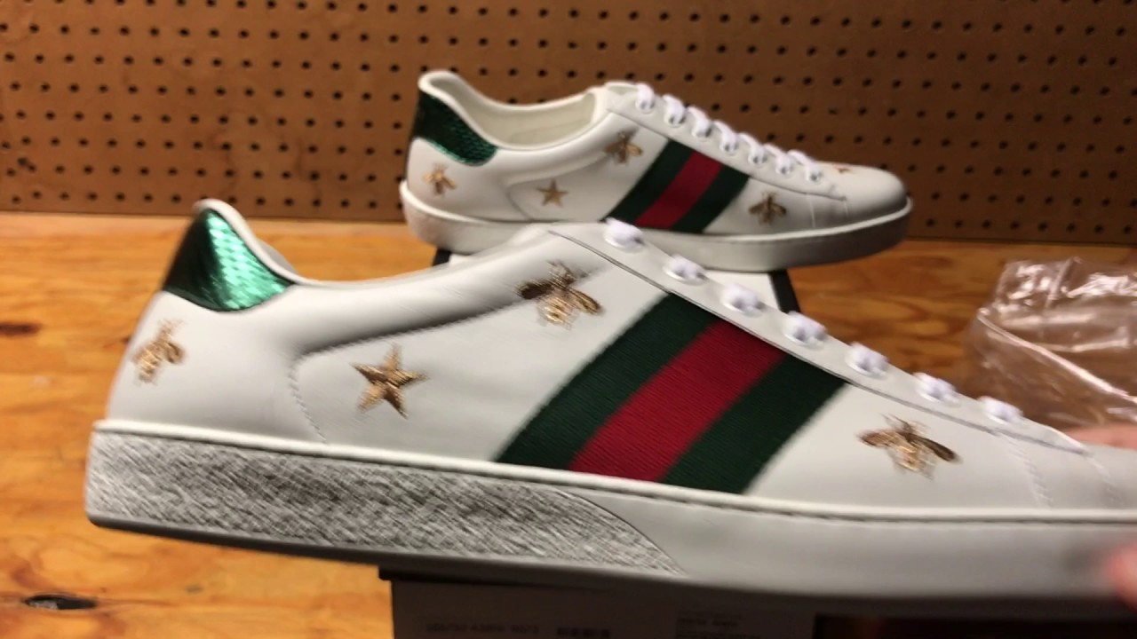 d2c63bd6c3c Gucci Ace Embroidered Low-Top Sneaker White Review - YouTube