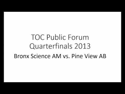 TOC 2013 PF Quarterfinals-Bronx Science AM vs. Pine View AB
