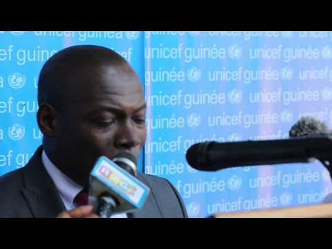 UNICEF in Guinea Deputy Rep receiving donation from Japan to combat the Ebola outbreak