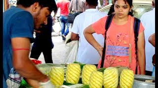 500 Pineapple Cutting & Selling - Sliced Pineapples - Indian Street Food Kolkata - Street Food India