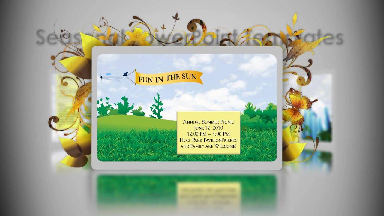 digital signage powerpoint template - summer - youtube, Modern powerpoint