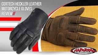Black, Medium Cortech Mens Heckler Leather Motorcycle Gloves