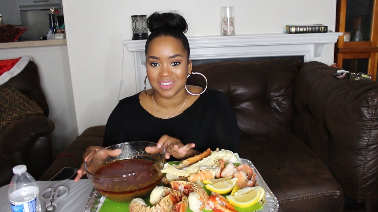 Seafood Boil Mukbang w/Bloves Sauce   King Crab, Lobster, Shrimp  Terria Lewis - YouTube