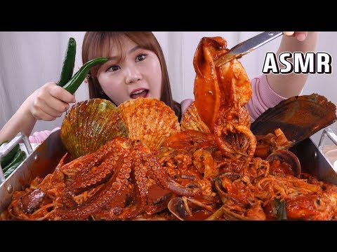 asmr-mukbang|eating-korean-braised-spicy-seafood-(haemul-jjim)-eating-sound