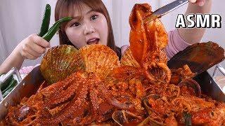 Gambar cover ASMR Mukbang|오징어, 문어, 가리비, 전복 등 다양한 해물을 넣은 해물찜~ 오랜만에 먹어봤어용!