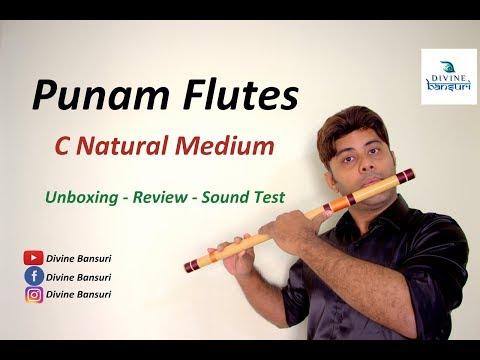 Punam Flutes - C Scale - Natural Medium - Unboxing , Review & Sound Test - Divine Bansuri