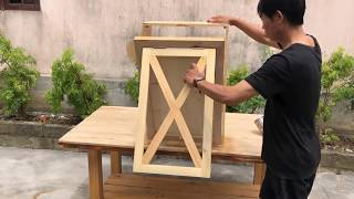 Excellent Woodworking Skills // Build Smart Folding Tables From Pallets   Combining Storage -  DIY!