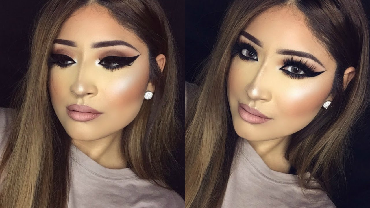 THICK EYELINER Makeup Look - YouTube