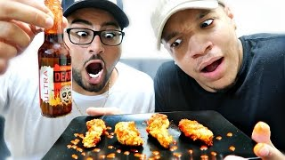 GHOST PEPPER WINGS CHALLENGE!! (HOTTEST HOT SAUCE IN THE WORLD)