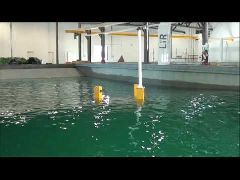 Extreme wave testing of floating wind energy platform.