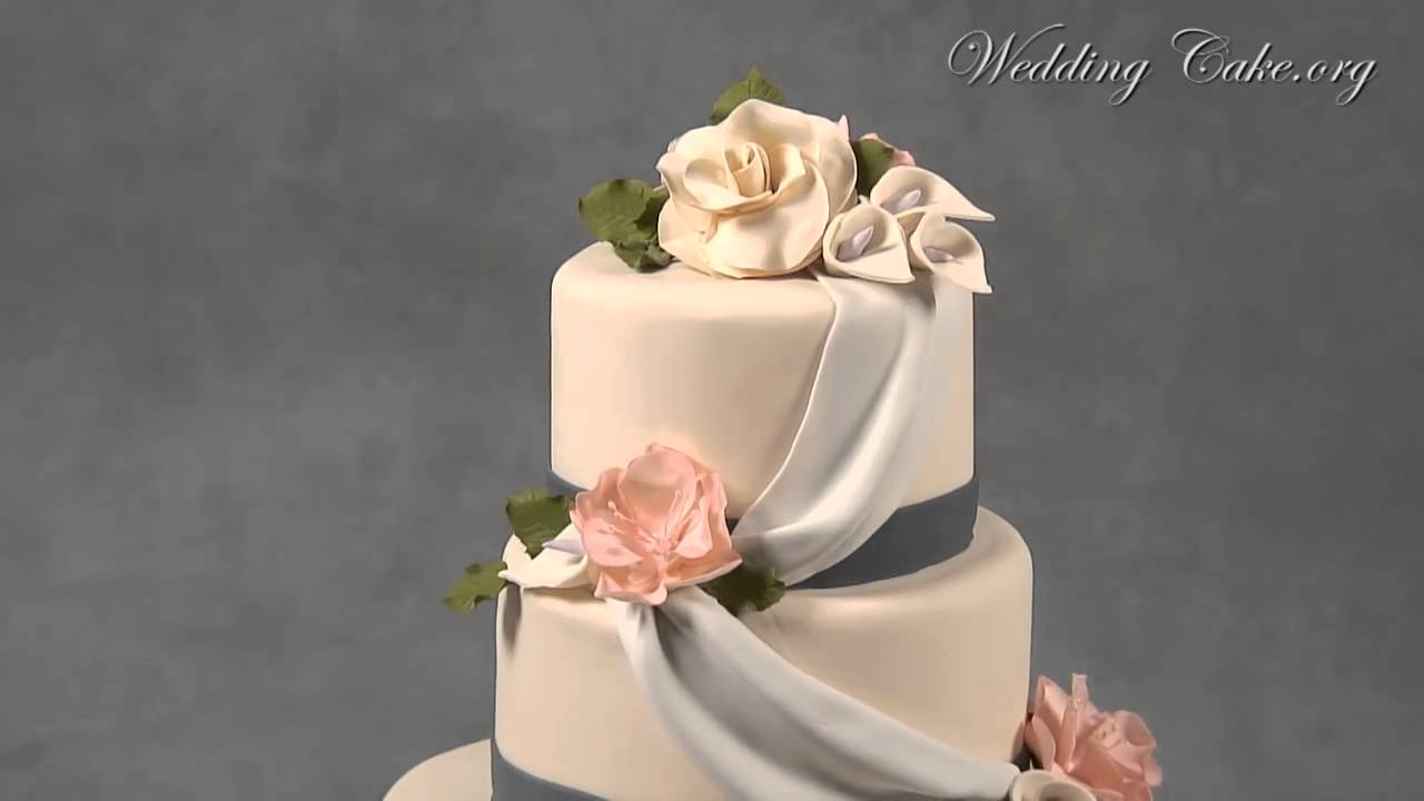 Fondant Wedding Cake Elegant Wedding Cake Sophias Sophistication