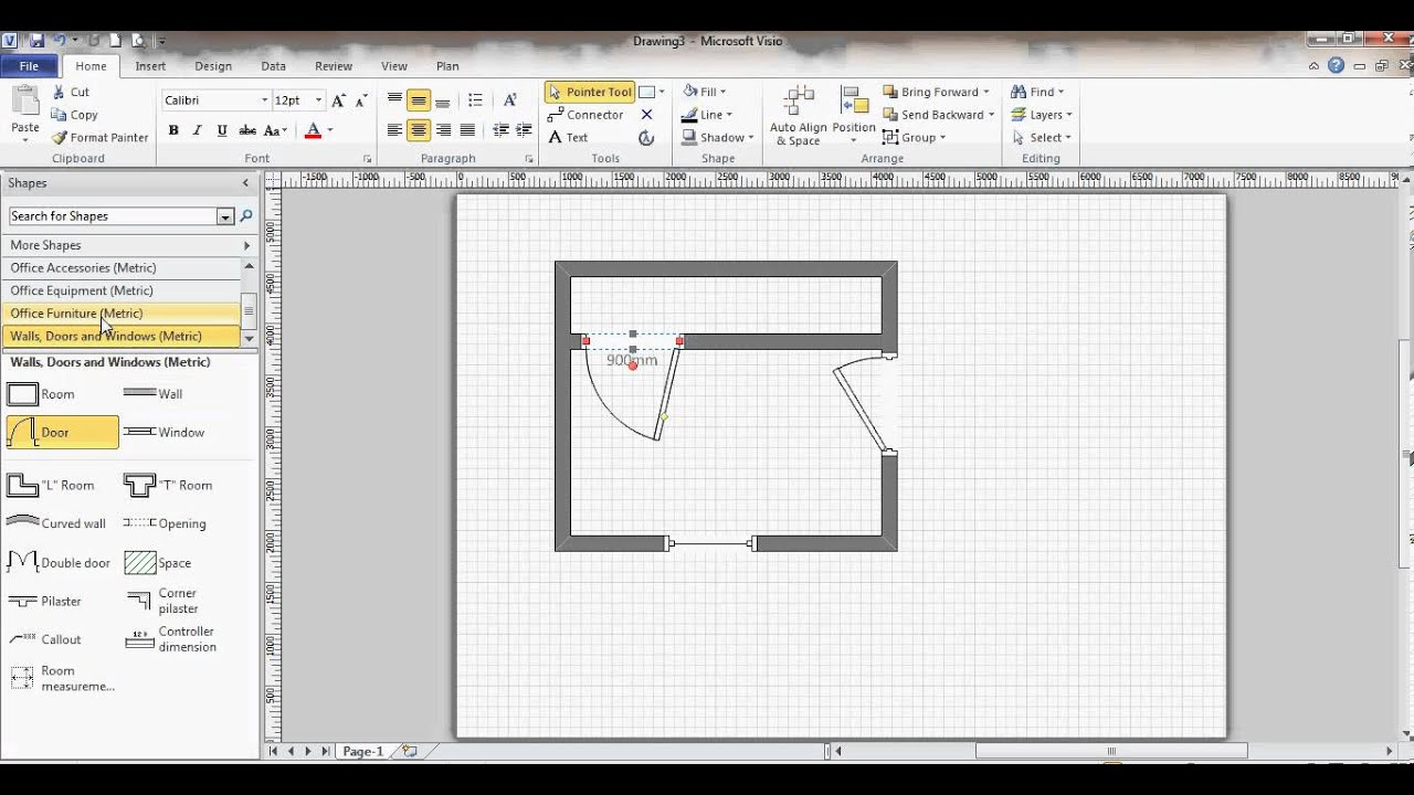 Microsoft visio floor plan youtube for Free floor plan template excel
