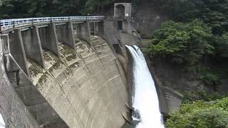 石徹白ダムの河川維持放流