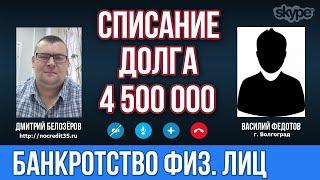 Банкротство физических лиц в Волгограде  Списание долга по банкротству в 4 500 000 рублей