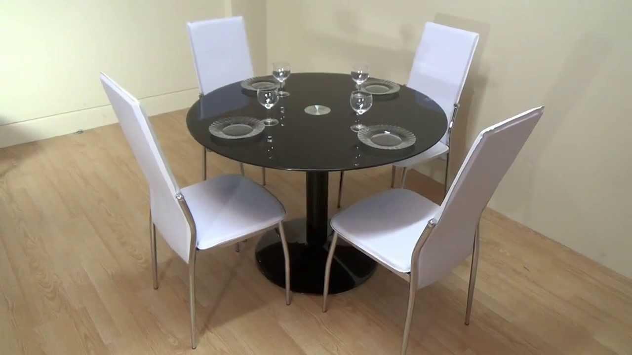 Descatalogado pack mesa comedor negra redonda 4 sillas for Mesa vidrio redonda para comedor
