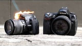 Nikon D90 vs Canon 550D Durability Test (Part 1)*(People always question how tough the more basic level DSLRs are and treat them like delicate objects. But are they really tough enough to take the abuse that ..., 2010-08-20T22:14:33.000Z)