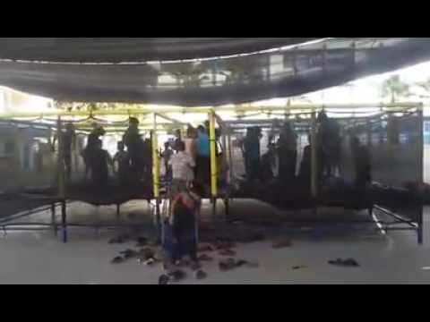 Although the permanent blockade of Gaza children practice playing in an UNRWA school