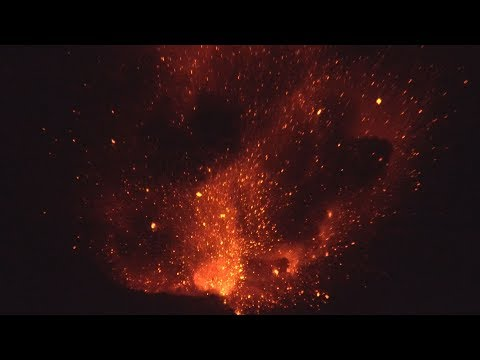 Huge Lava Bombs Explode From Anak Krakatau Volcano At Night