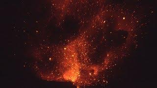 Huge Lava Bombs Explode From Anak Krakatau Volcano At Night thumbnail