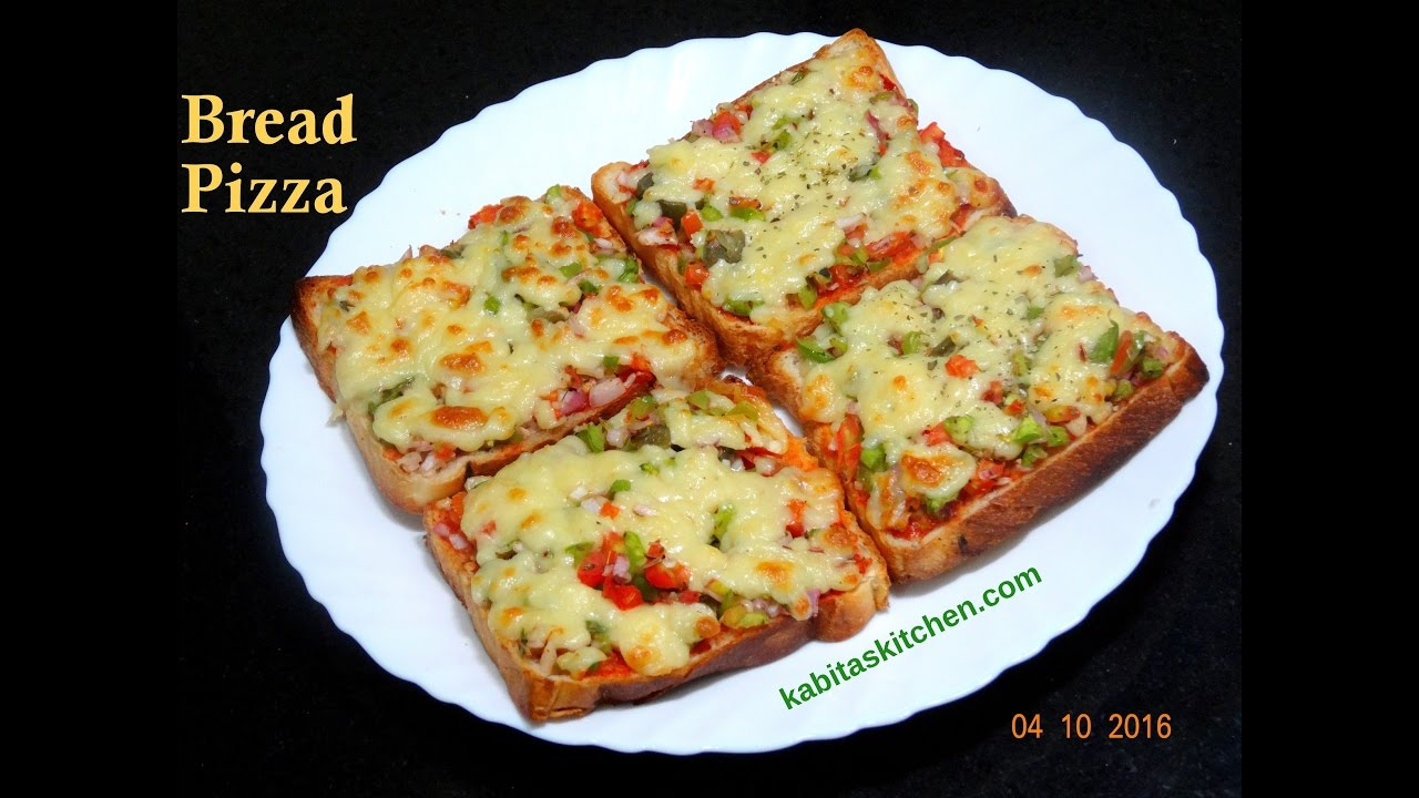 Bread Pizza Recipe Quick And Easy Bread Pizza Bread Pizza Recipe By Kabitaskitchen Youtube