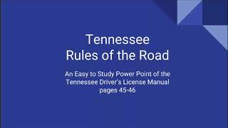 Tennessee Driver's Permit: Rules of the Road