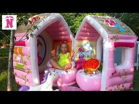 ДОМИК БАССЕЙН для принцесс ПИЦЦА и МОРОЖЕНОЕ Видео для детей House for princess перезалив