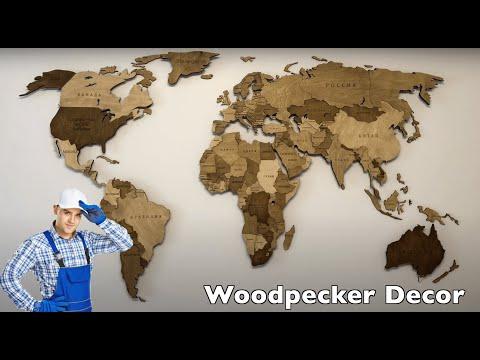 Монтаж деревянной настенной Карты от Woodpecker Decor