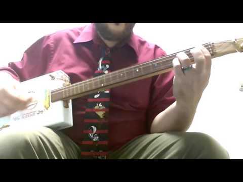 cuellar creme 4-string cigar box guitar - sultan's of swing demo