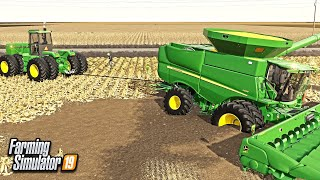 JOHN DEERE COMBINE GETS BURIED IN MUD! (ROLEPLAY) | FARMING SIMULATOR 2019
