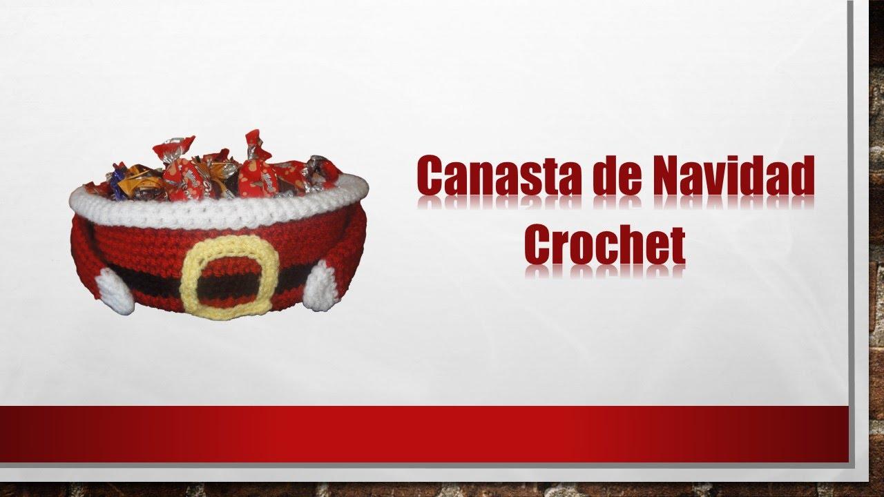 Canasta Papa Noel tejida a crochet para navidad - YouTube