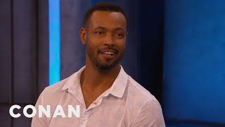 Isaiah-Mustafa-Gifted-Stephen-King-Old-Spice-Socks-CONAN-on-TBS