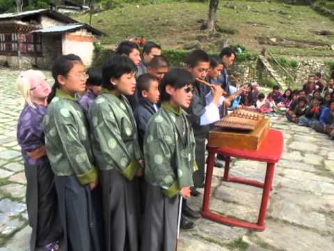 Bhutan's Institute for the Visually Impaired sing for our tour