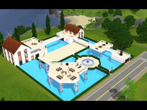 The sims 3 modern pool house youtube for Pool designs sims 4
