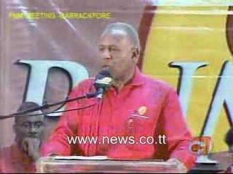 Trinidad and tobago Prime Minister Patrick Manning preaches