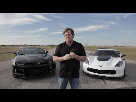 2017 ZL1 Camaro vs Z06 Corvette Roll-on Drag Race
