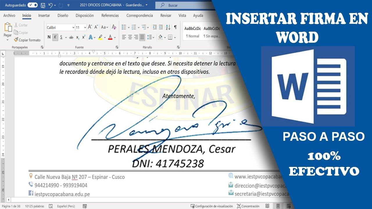 Cómo Insertar Una Firma En Word Para Enviar Por E Mail Imprimir O Insertar En Pdf