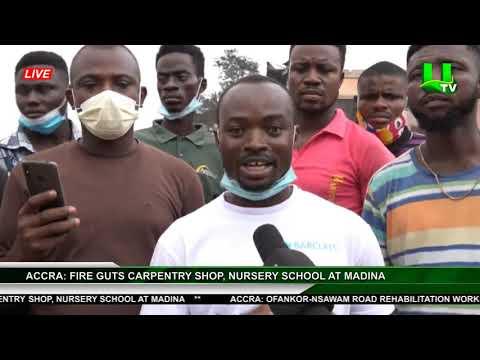 Accra: Fire Guts Carpentry Shop, Nursery School At Madina