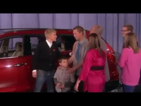 A Big Inspiring Family Gets An Even Bigger Surprise On Ellen Show - Ellen degeneres show car giveaway