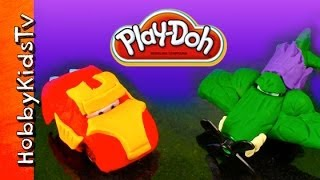 PLAY DOH  Ironman Car Lightning McQueen, Hulk Planes Ripslinger - How to make Superheroes