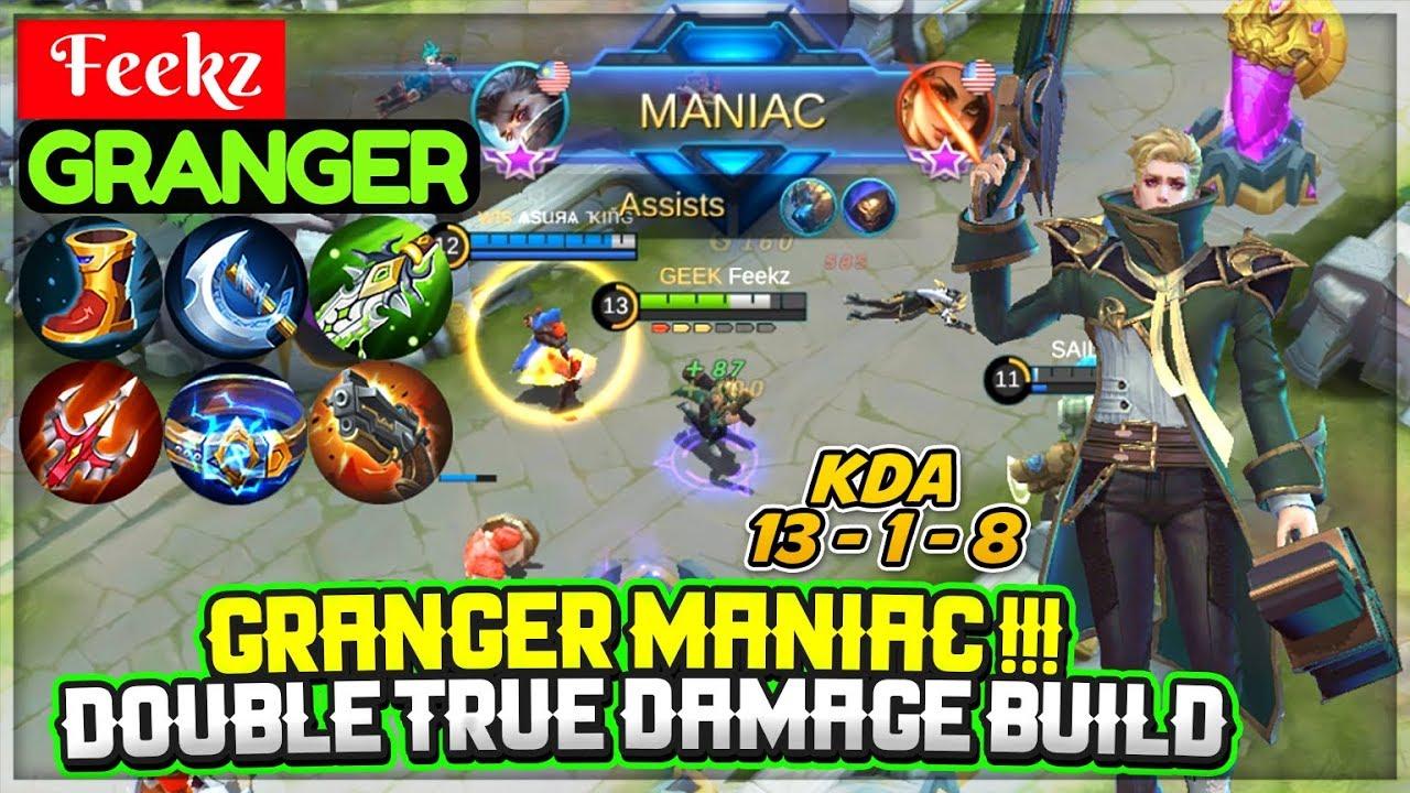GRANGER MANIAC  DOUBLE TRUE DAMAGE BUILD [ Feekz Granger ]   Mobile  Legends