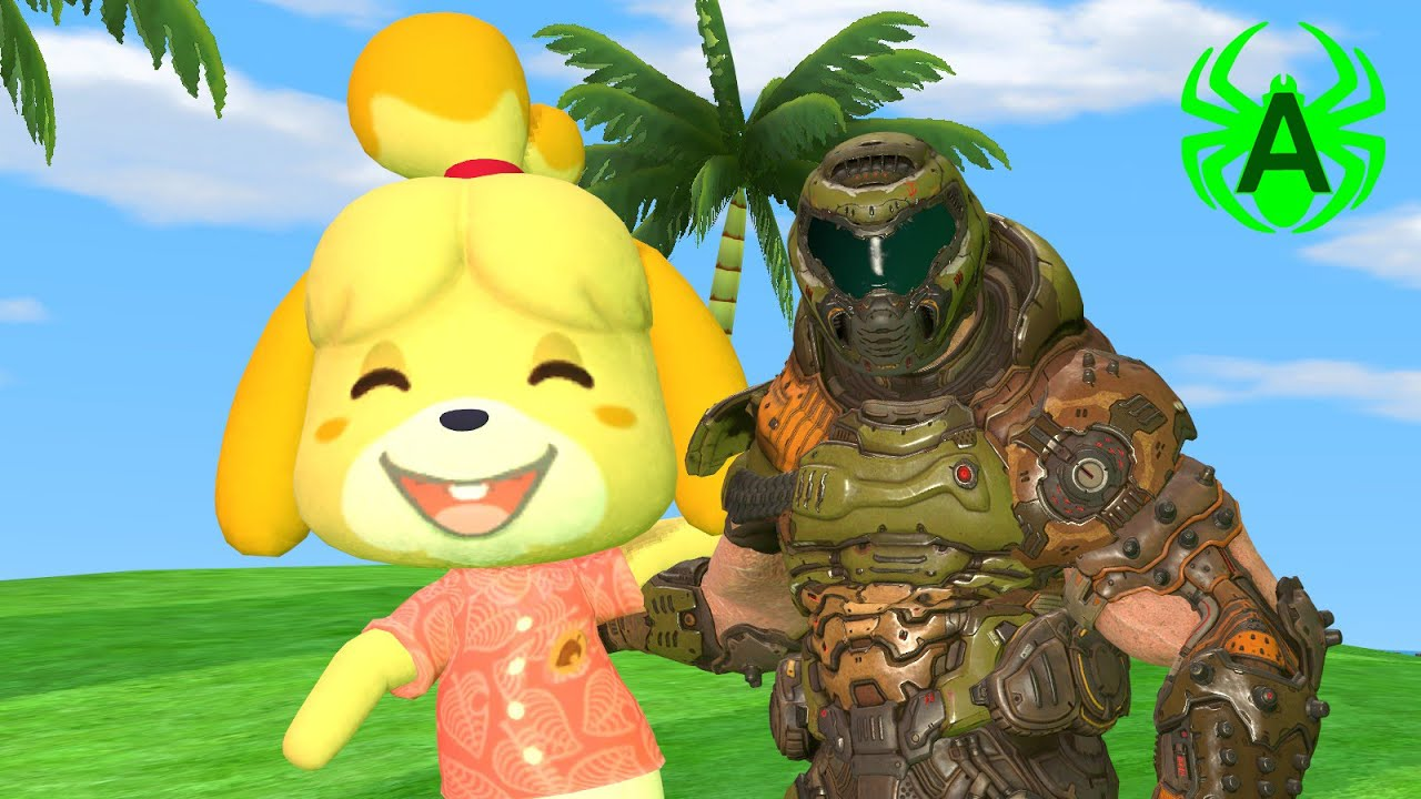 [Doom/Animal Crossing] Isabelle and Doom Guy are BFFs