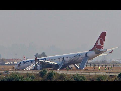 Turkish Airlines Jet Veers Off Runway in Nepal