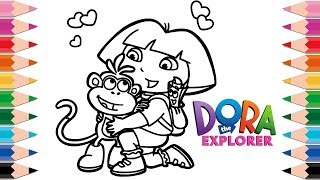 How to Draw Dora the Explorer for Kids Learn Colors Drawing and Coloring Pages for Kid and Toddlers