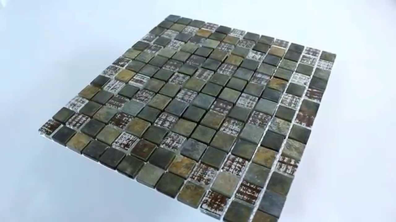 glas mosaik fliesen rost braun mix youtube. Black Bedroom Furniture Sets. Home Design Ideas