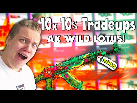 CS:GO 10x 10% AK WILD LOTUS TRADE UPS! ($3000 TRADE UPS)