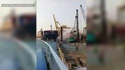 ZERSTÖRERISCH: Frachter reißt alles ein, was sich ihm in den Weg stellt