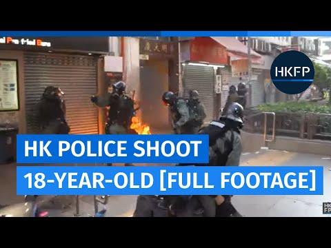 Full footage: Hong Kong police shoot 18-year-old protester at close range [Graphic]