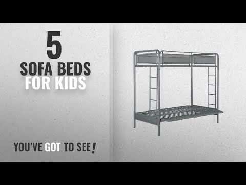 Top 10 Sofa Beds For Kids [2018]: DHP Rockstar Metal Bunk Bed, Twin-Over-Futon - Silver